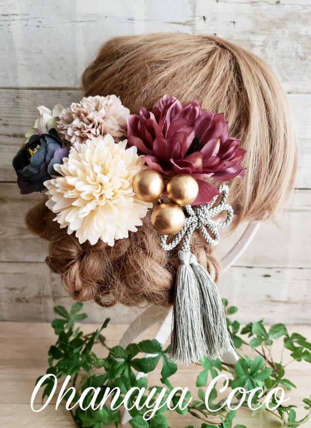 大人可愛い アンティーク風アネモネの髪飾り7点Set No592の画像1枚目