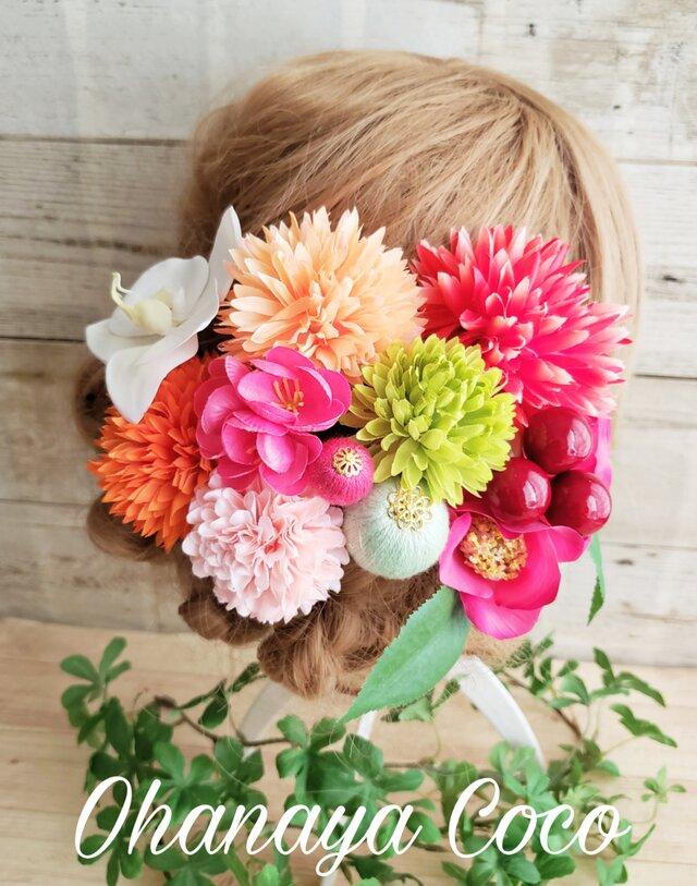 花kirari 椿とマムとponponボールの髪飾り12点Set No593の画像1枚目