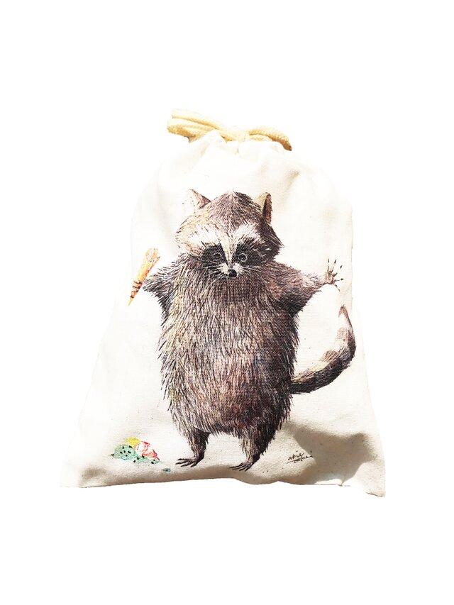 コットン100% アライグマの巾着袋 ★給食やお箸袋・入園入学・ラッピングにも★の画像1枚目