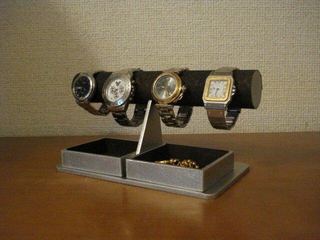彼氏にプレゼント 腕時計スタンド ブラックダブルでかいトレイ AKデザインの画像1枚目
