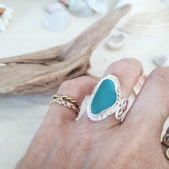 【11号】silver925  seaglass ring - side heart -の画像1枚目