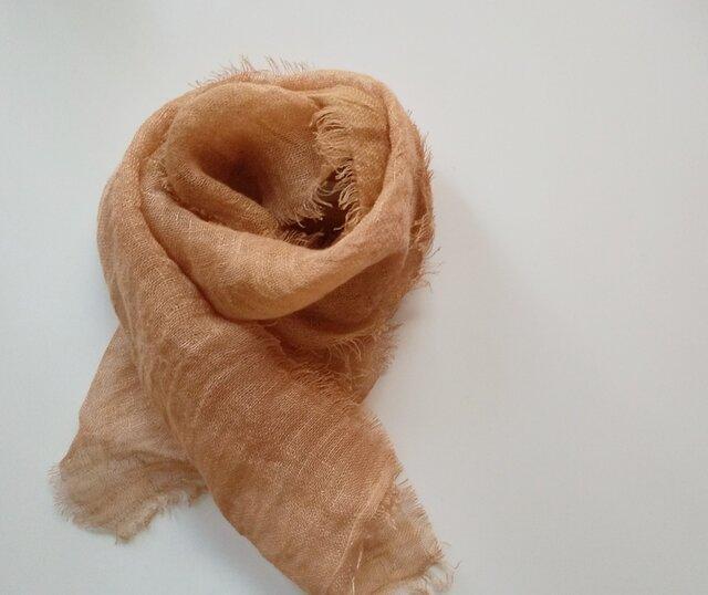 再販 長~い時期使える♪ふんわり柔らかなリネンガーゼミニストール 草木染め びわ染*銅媒染の画像1枚目