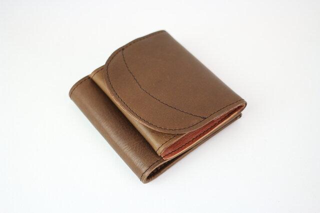 姫路レザー 二つ折り財布 小銭が見やすいお財布 本革 チョコ【送料無料】の画像1枚目