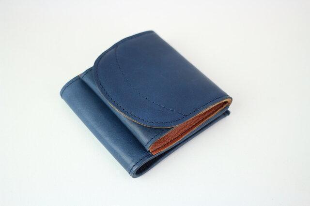 姫路レザー 二つ折り財布 小銭が見やすいお財布 本革 ネイビー【送料無料】の画像1枚目