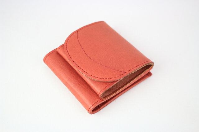 姫路レザー 二つ折り財布 小銭が見やすいお財布 本革 レッド【送料無料】aw-01bpuの画像1枚目