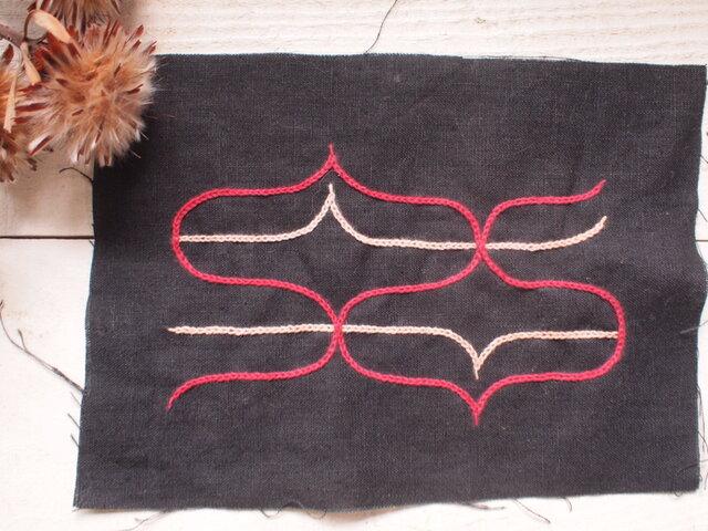 アイヌ刺繍のワッペン素材 封筒サイズ シャツやバッグ・ポーチなどにの画像1枚目