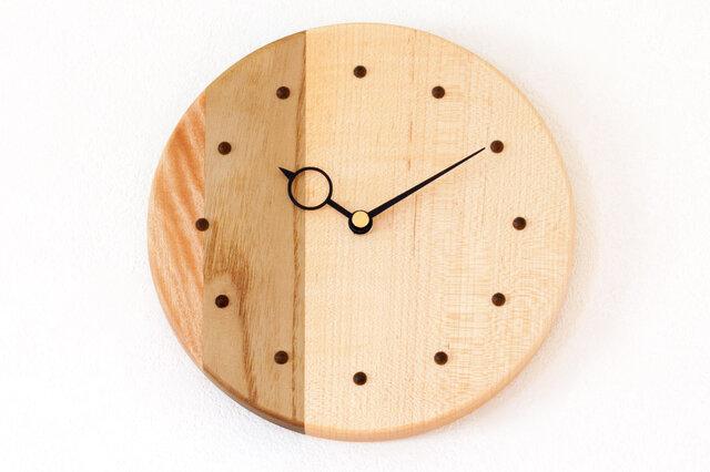 寄せ木の壁掛け時計 円形2−1の画像1枚目