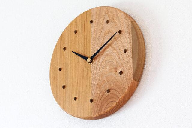 寄せ木の壁掛け時計 円形2−2の画像1枚目