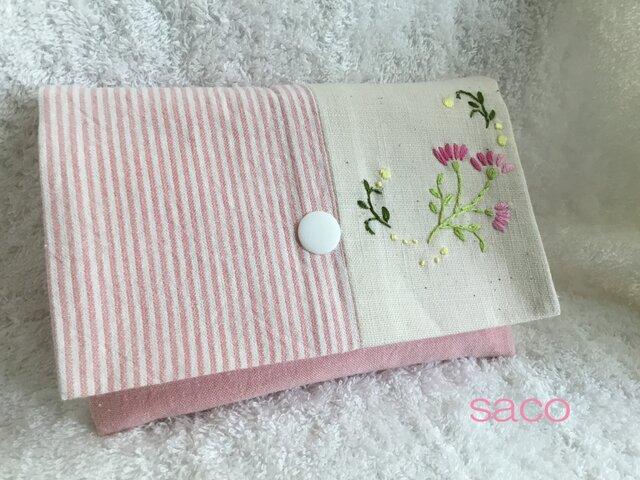 花刺繍のポーチ・ピンクの画像1枚目