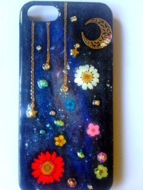 【再販】宇宙と花のIPHONE5/5sケースの画像1枚目