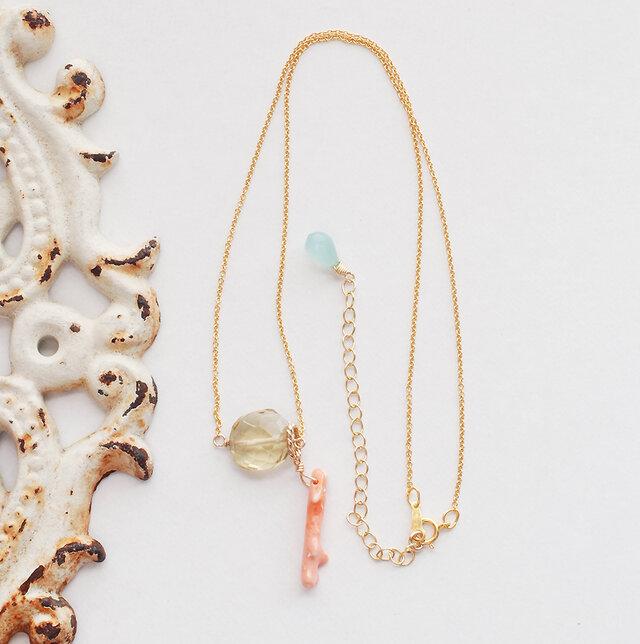 LeJ(ルジィ)枝珊瑚とレモンクオーツのネックレスの画像1枚目