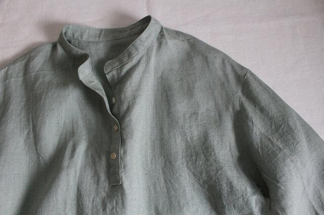 リトアニアリネン100% ~プルオーバーロングシャツ~ アースグリーン【受注生産】の画像1枚目