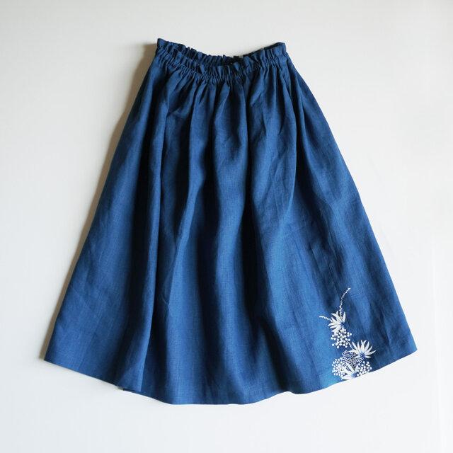リネン・ギャザースカート ブルー<海中植物>の画像1枚目