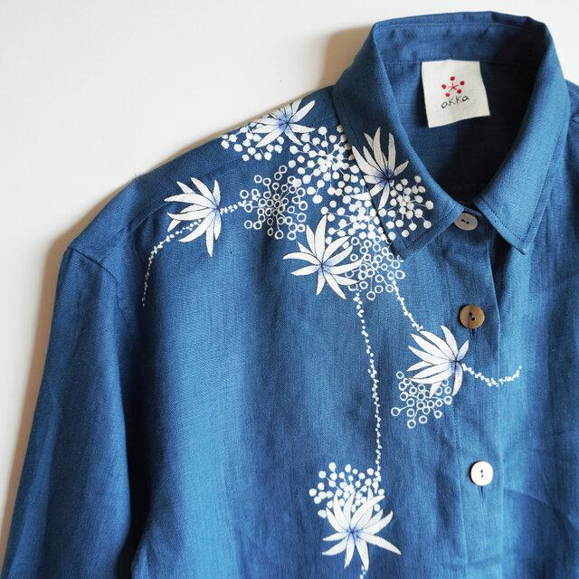 リネンシャツ ブルー <海中植物>の画像1枚目