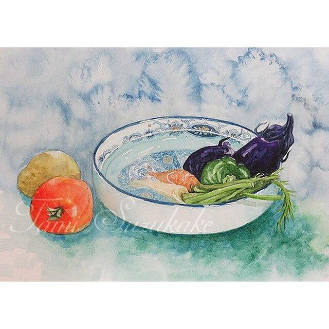 水彩・原画「夏野菜」の画像1枚目