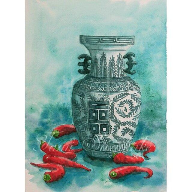 水彩・原画「赤唐辛子と壺」の画像1枚目