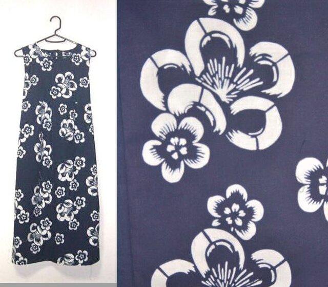 浴衣リメイク♪梅が可愛い浴衣チュニックワンピース♪ハンドメイド・藍染め・梅・花柄・コットンの画像1枚目