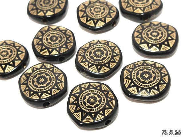 アンティーク調ビーズ 星紋章柄 ブラック 30個【コイン型パーツ 宇宙 ピアス素材】の画像1枚目