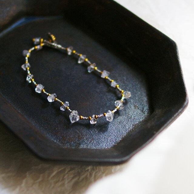 【再販・受注制作】ハーキマーダイヤモンド×カレンシルバー・ブレスレット b0712の画像1枚目
