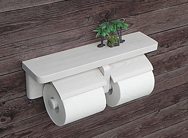 木製トイレットペーパーホルダー Ver.13(ホワイトシースルー)の画像1枚目