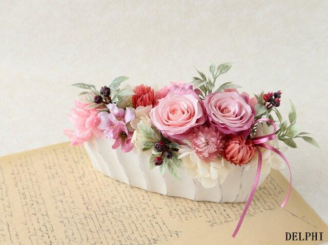 バラとベリーのアレンジメント(ピンクロゼ)【プリザーブドフラワー】 お祝い ご結婚祝い 開店祝い 敬老の日 お誕生日祝いの画像1枚目