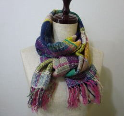 《手織り》色とりどり コットンウールマフラーの画像1枚目