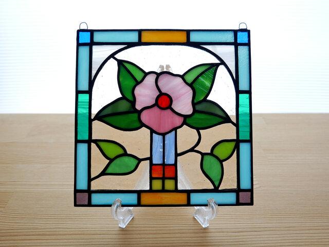 ステンドグラス ミニパネル フラワー 15cmの画像1枚目