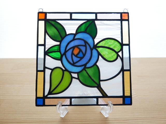 ステンドグラス ミニパネル ブルーローズ 15cmの画像1枚目