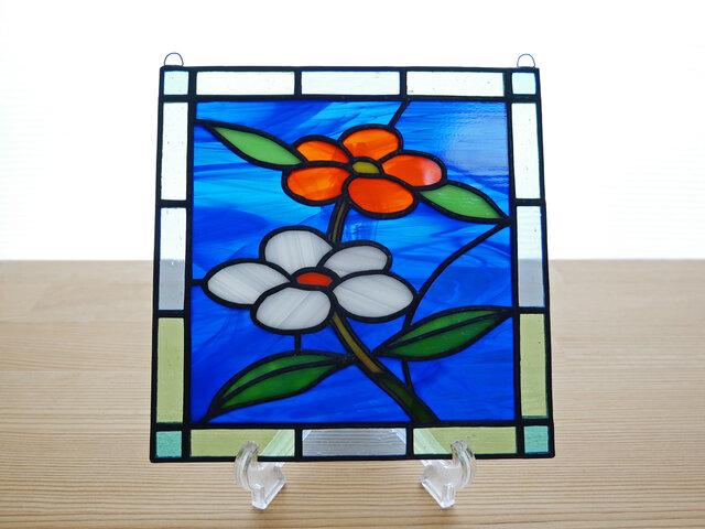 ステンドグラス ミニパネル 小さな花 15cmの画像1枚目