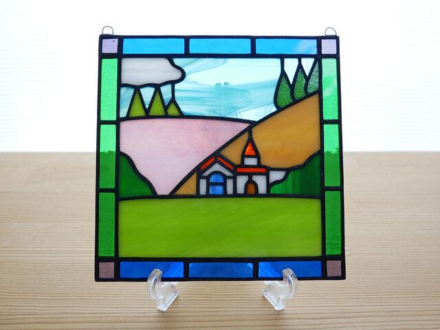 ステンドグラス ミニパネル 丘の家 15cmの画像1枚目