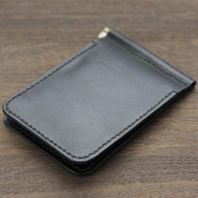栃木レザー マネークリップ 財布 本革  手縫いハンドメイド 日本製 赤タグ付 ブラック モカ 黒 茶の画像1枚目