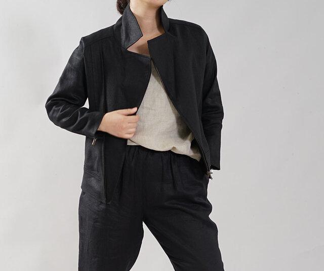 【wafu】中厚 リネン ライダースジャケット 羽織 2重仕立て 裏地リネン アウター / ブラック h047a-bck2の画像1枚目