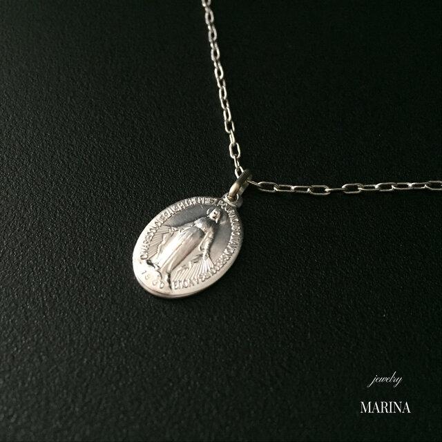 フランス奇跡のメダイのネックレス - silver chainの画像1枚目
