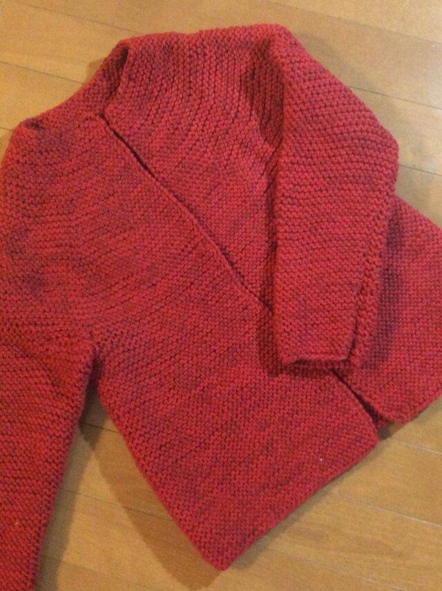 在庫処分値下げ グラデーションレッド  ウールのジャケットの画像1枚目