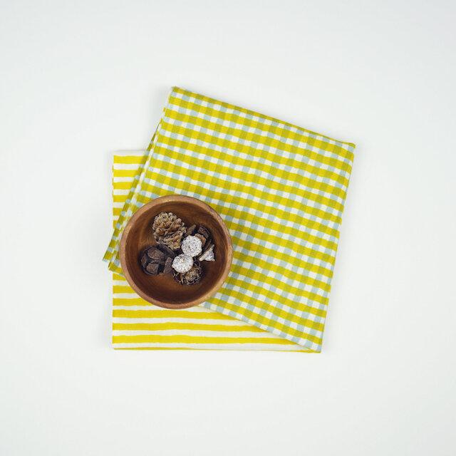 手ぬぐい【 縞々格子 】芥子×灰の画像1枚目