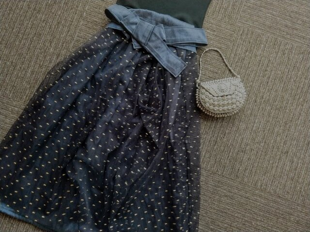 ★一品物★金のドット付チュール★ギャザースカート★受注製作★の画像1枚目