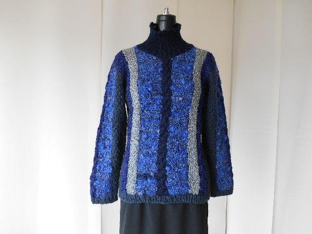 紺系の模様編みセーター(A)の画像1枚目