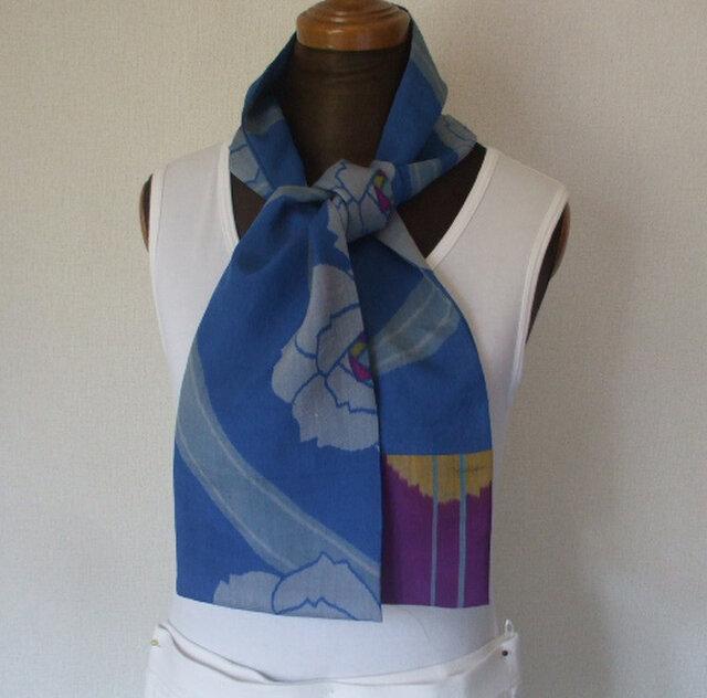 青空の色の銘仙ストール 絹の画像1枚目