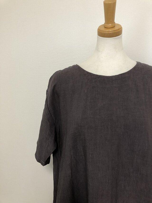 セール品 グレー系リネンのシンプルワンピース M~Lの画像1枚目