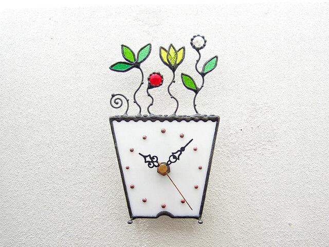 ステンドグラスの掛け&置き時計・プランツ(R)の画像1枚目