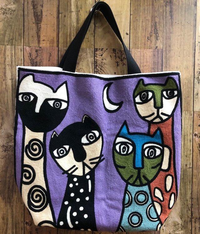 大きなトート 刺繍月夜の猫 受注製作の画像1枚目