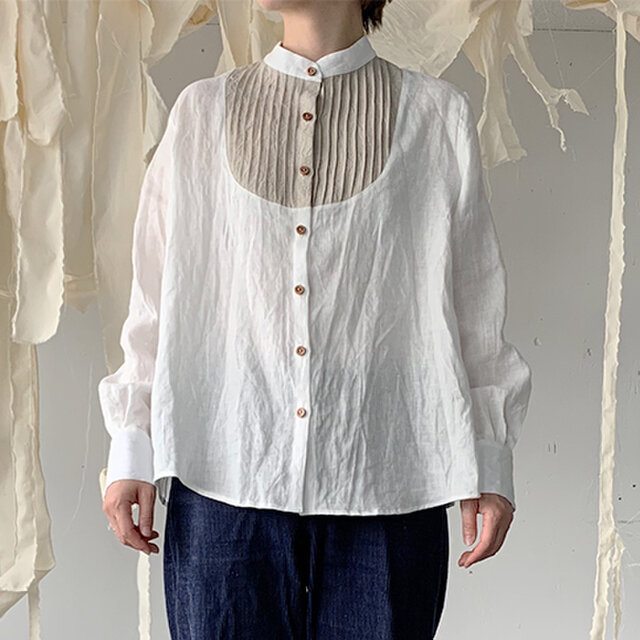 linen bosom shirt[French linen  off-white]の画像1枚目