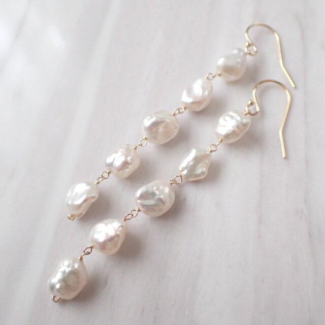 K14GF keshi water pearl long pierceの画像1枚目