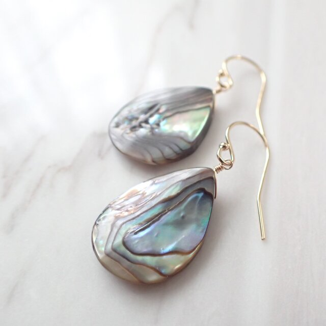 K14GF abalone shell pear shape pierceの画像1枚目
