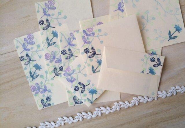 消しゴム版画「和紙の小さな封筒と便せんセット(ワイヤープランツと小さな花・ピンク)」の画像1枚目