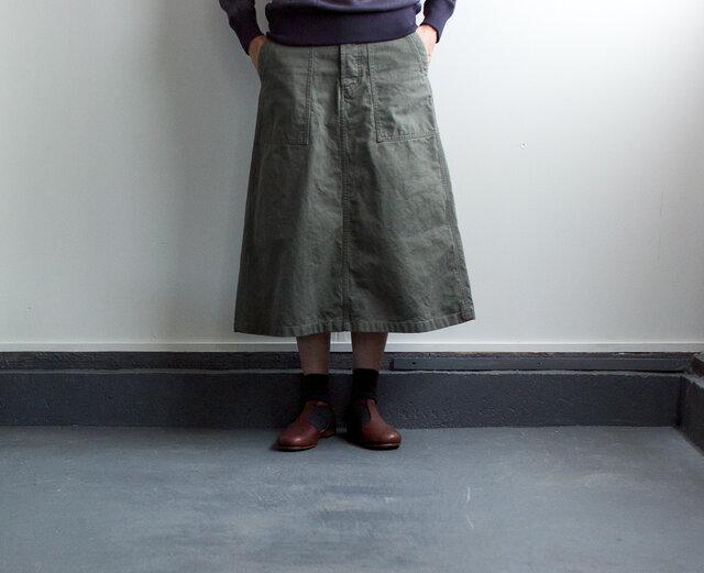 army cord/baker skirt/khakiの画像1枚目