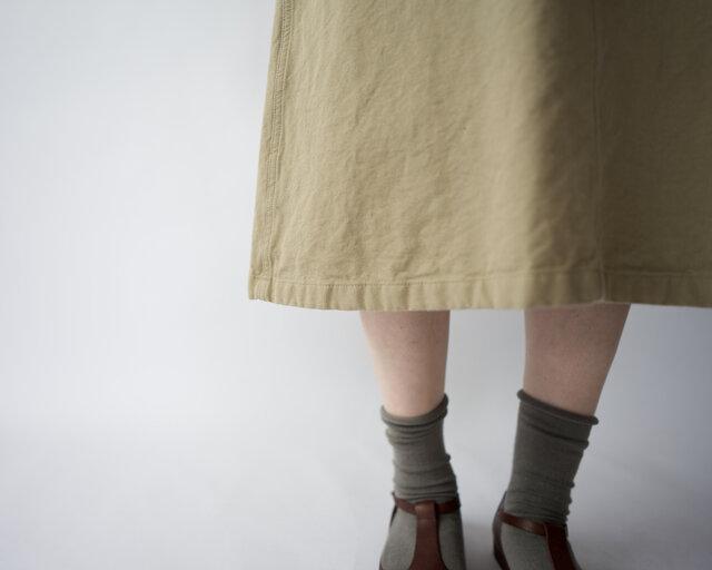 original cotton twill/baker skirt/sandbeigeの画像1枚目
