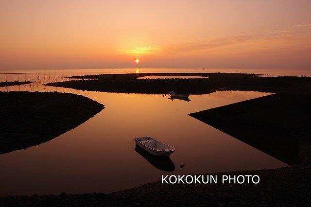 有明海の朝の風景「静かな朝の海」(A4サイズ)の画像1枚目