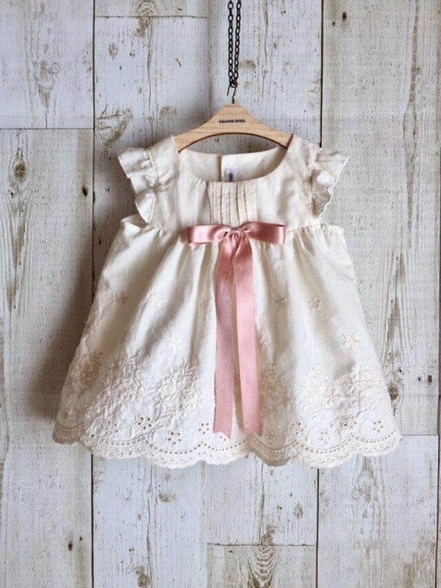 ダッフィーサイズのお洋服 アンティーク風ドレス(リボン16mm)の画像1枚目