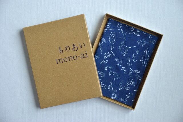 藍染×型染ハンカチ(七花)の画像1枚目